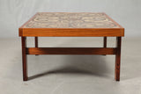 Rosewood Coffee Table with Hand Painted Tiles