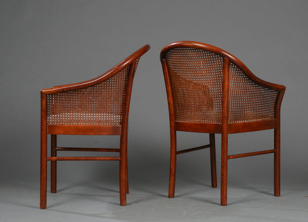 Side and Back View of Cane Armchairs