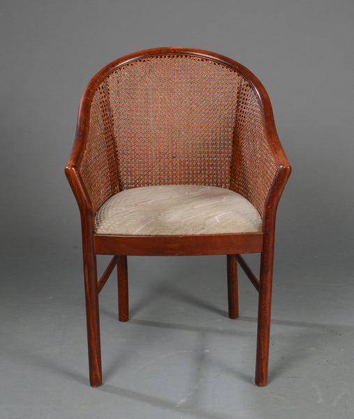 Moulded Wood Armchair with Cane Sides and Back and Padded Seat