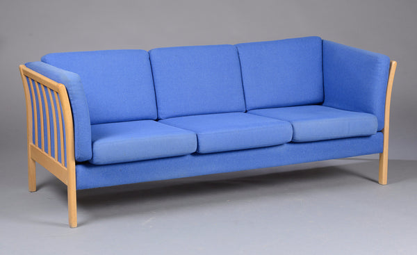 Beech Sofa with Light Blue Upholstery