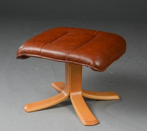 Brown Leather Ottoman with Central Pillar Legs