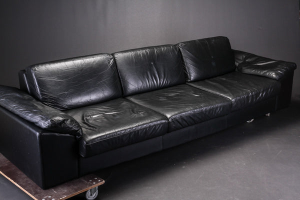 Black Leather Sofa by IDE Mobler