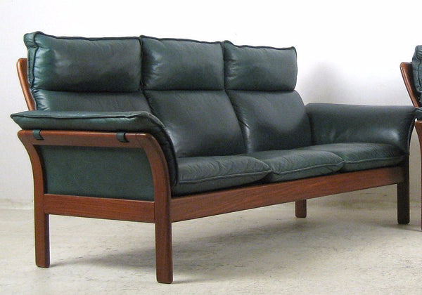 teak green leather sofa