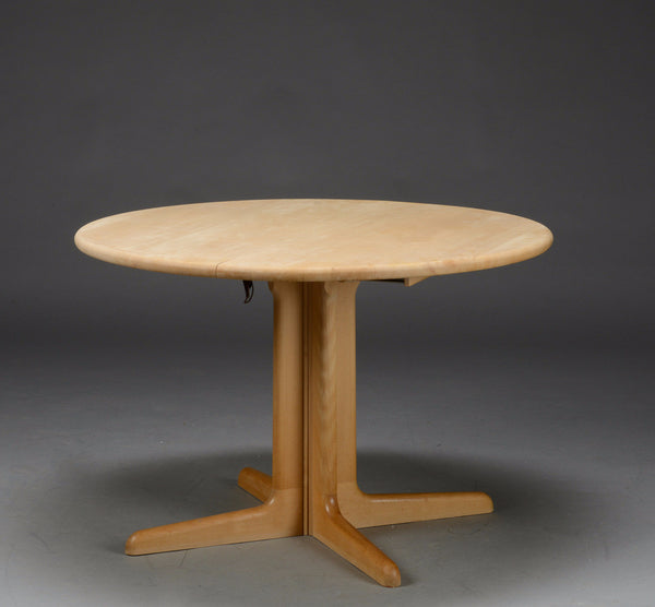 Round Beech table with Central Pillar Legs