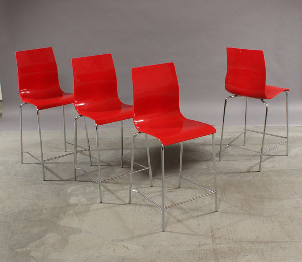 Four Red Acrylic Bar Chairs with Metal Legs