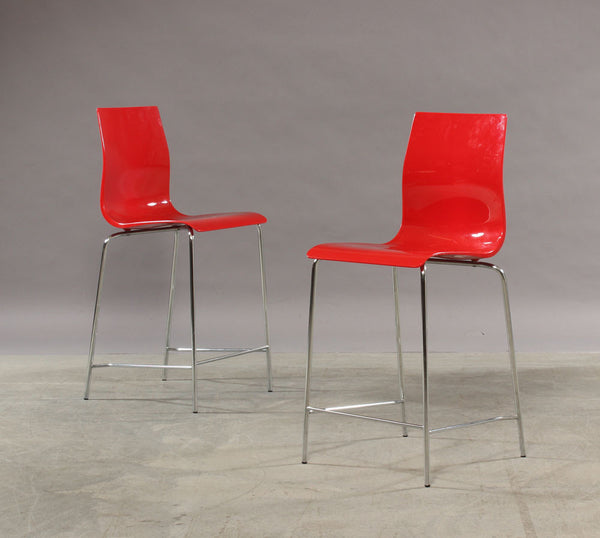 Two Red Acrylic Bar Chairs with Metal Legs