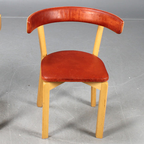 Beech and Leather Chairs