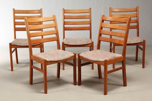 Set of five Teak Dining Chairs
