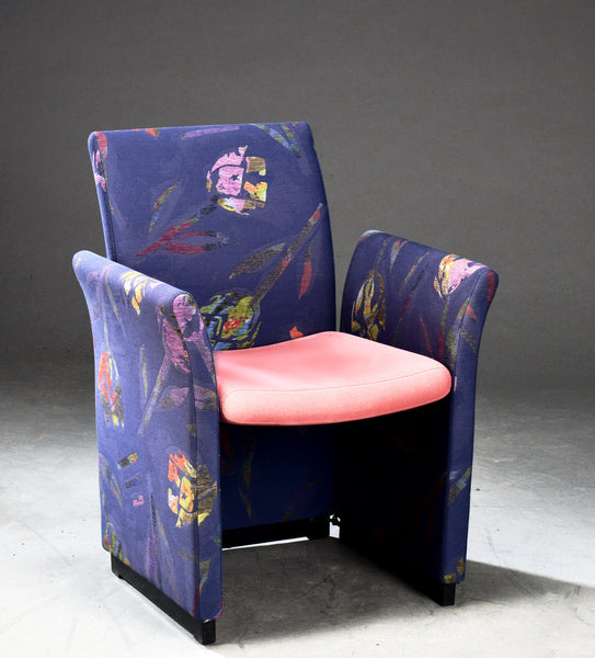 Blue Fabric Armchair with Pink Seat