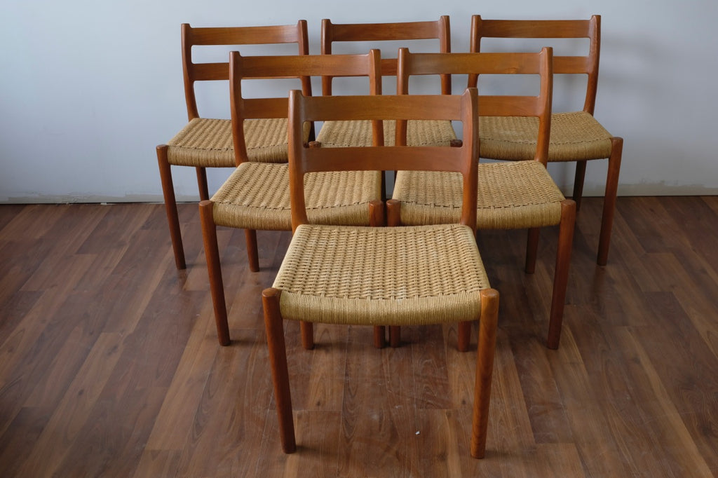 Flot Niels O. Møller Dining Chairs Model 84 in Teak and Papercord CO-46
