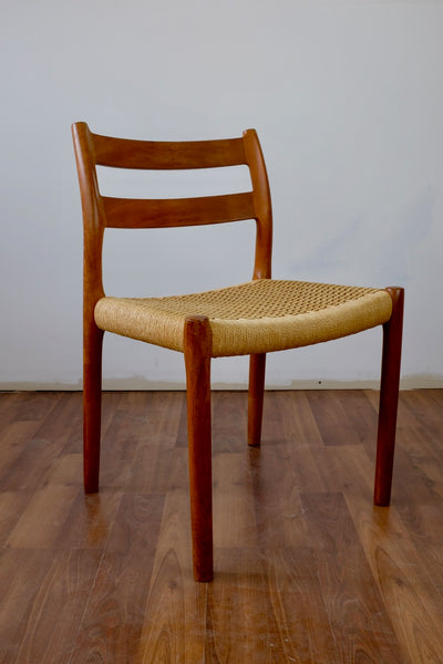 Niels O. Møller Dining Chairs Model 84 in Teak and Papercord