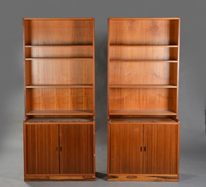 Teak Bookcase Rack System with Tambour Doors