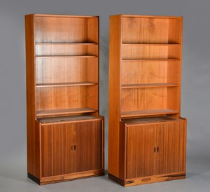 Teak Bookcase with Tambour Doors