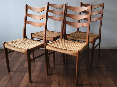Teak High-backed Dining Chairs by Arne Wahl-Iversen with Danish Cord Seats