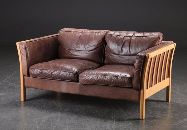 Beech Sofa w Leather upholstery
