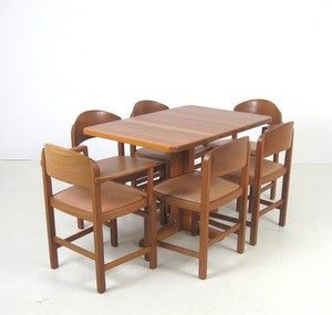 Teak Dining Chairs with Leather Seats