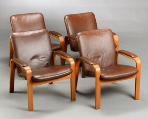 Oak Armchairs with Brown Leather by Ekornes Norway