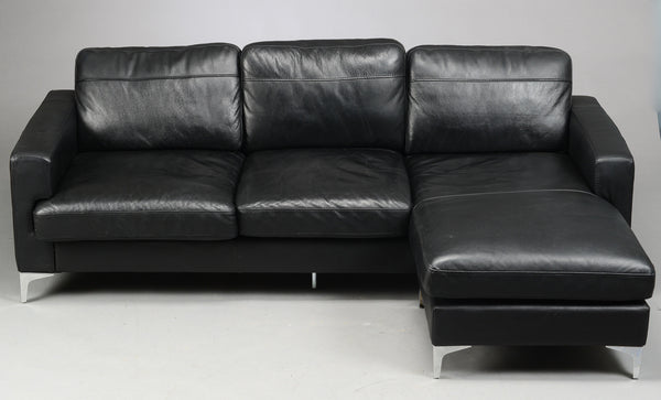 Leather Sofa with Chaise Loungue