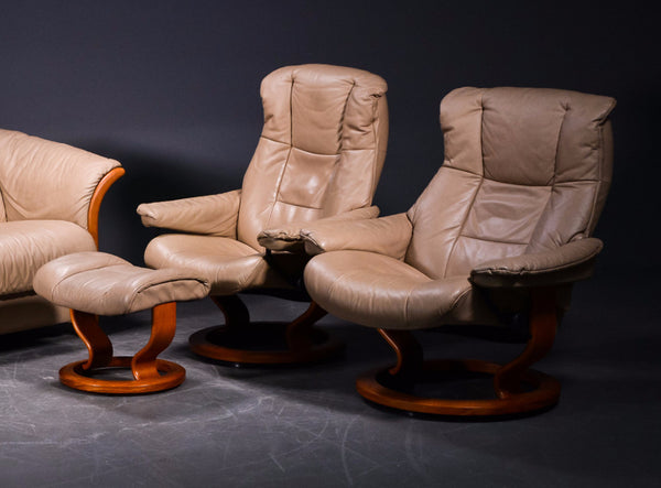 Two Stressless Chairs and Ottoman