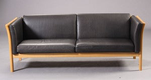 Beech Sofa with Leather upholstery