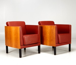 Pair of leather mahogany armchairs designed by Hiorth-Lorenzen & J. Foersom.