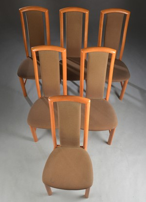 Six High-backed Chairs in Cherry and Beech by Skovby. price per chair