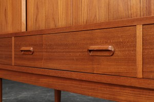 Exquisite Teak High Sideboard from Denmark featuring Mirrored Bar