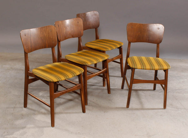 Ib Kofod-Larsen Style Beech Dining Chairs with Green and Yellow Striped Seats and Wood Backs