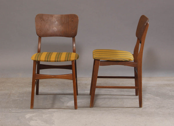 Front and Side of Ib Kofod-Larsen Style Beech Dining Chairs