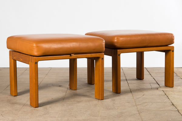 Teak and Leather Footstool