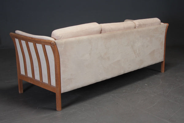Oak Sofa by Skalma with Alcantara Upholstery
