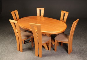 Sculptural Cherry Dining Set featuring and Table with two leaves and six Chairs