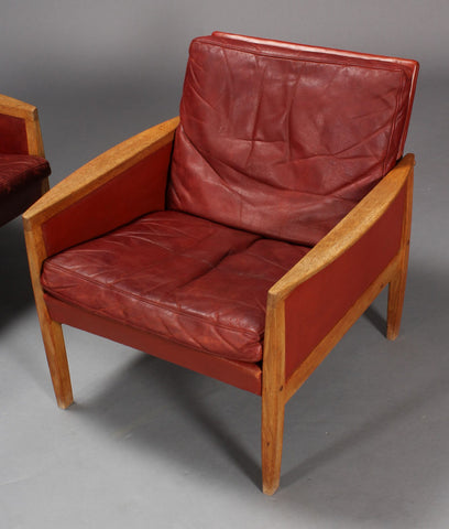 Hans Olsen Leather and Oak Armchair