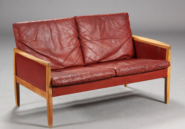Hans Olsen Leather Two-Seater Sofa