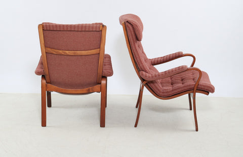 High-backed Beech Armchairs