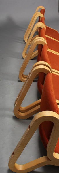 Back Side of Beech Wall Hung Chairs with Red Textile Upholstery by Magnus Olesen