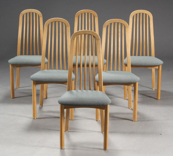 Collection of Matching Beech Dining Chairs with Curved Backs and Grey Textile Seats