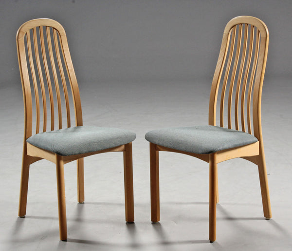 Two Beech Dining Chairs with Curved Wood Backs and Grey Textile Seats