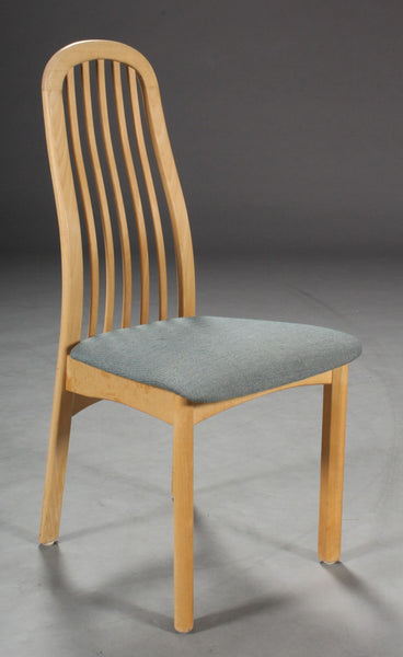 Beech Dining Chair with Curved Wood Back and Grey Textile Seat