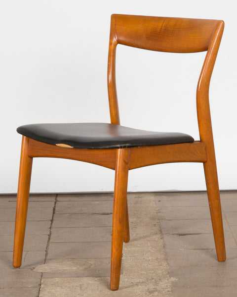 Teak Dining Chairs with Black Leather Upholstery