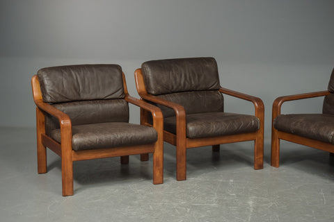 Teak and Leather Armchairs