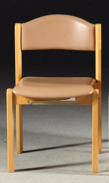 Beech Chairs with Leather