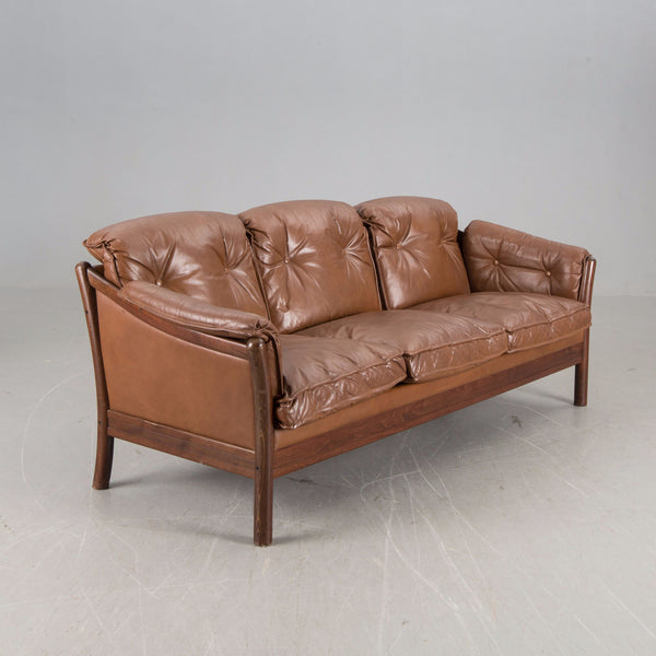 Teak / Leather Sofa