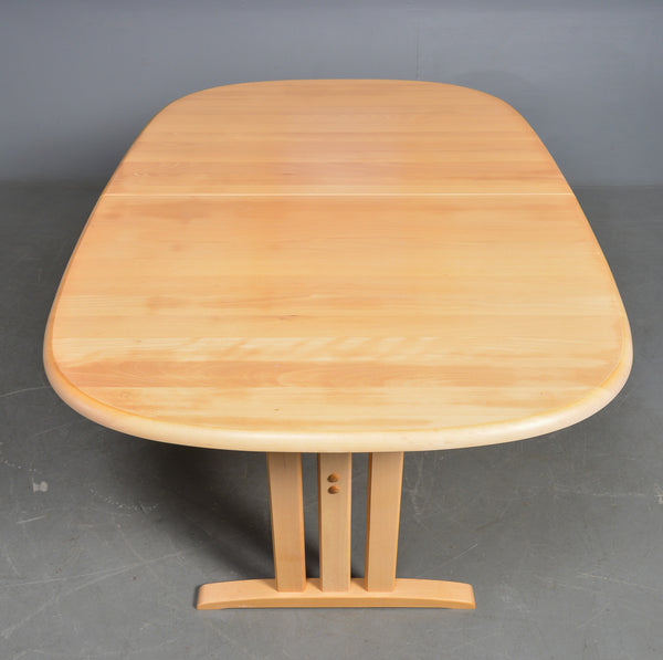 Solid Beech Dining Table with unmatched leaves.
