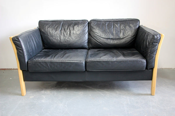 Danish, Solid Beech framed Leather Sofa