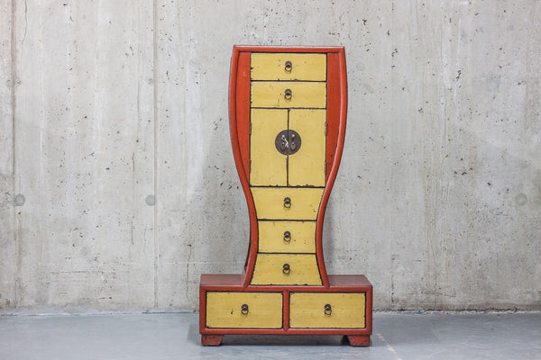 Oriental Red / Yellow Curved Cabinet