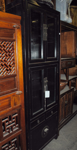 Oriental Black High Glass Doors Cabinet