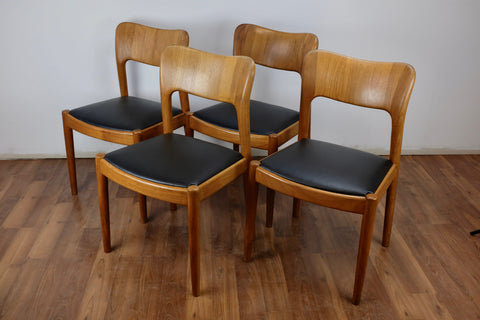 Dining Chair in teak and leather by John Mortensen for Hornslet Mobelfabrik