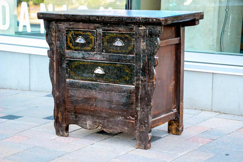 Antique Oriental Black Sideboard