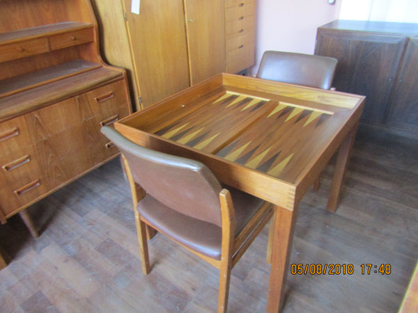 Teak Game Table with Chess and Backgammon Boards by Skovby with two Teak Chairs